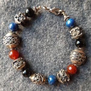 Jewelry - Sterling,lapis,black onyx, Carnelian bracelet
